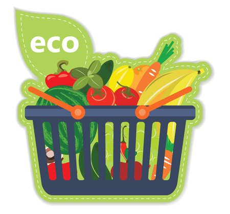 beneficial: Cart beneficial eco supermarket fresh food fruit and vegetables products in basket vector illustration Illustration