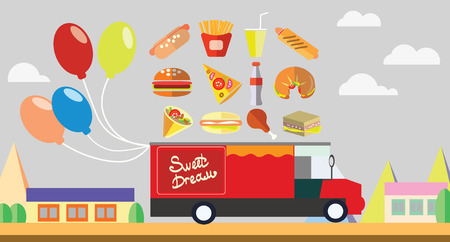 Red wagon fast food with baloons vector illustration Illustration