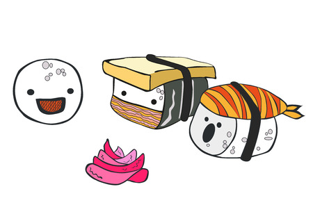 Funny cartoon little sushi communicate with each other vector illustration