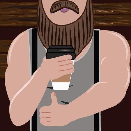 hombre guapo: Deportivo hombre guapo con barba ama y beber caf� ilustraci�n vectorial