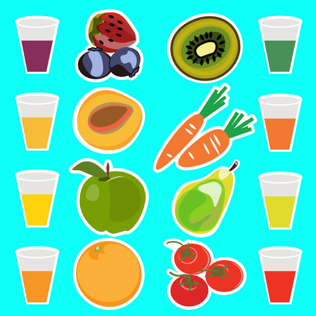 Useful delicious fresh fruit juices vector illustration