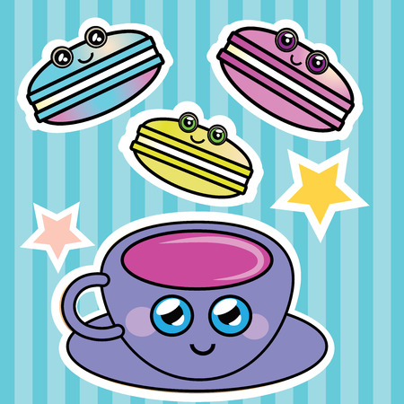 confection: French macaroon and a cup of coffee vector illustration