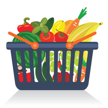 canastas con frutas: Las frutas y verduras en un vector de la cesta aislada Vectores