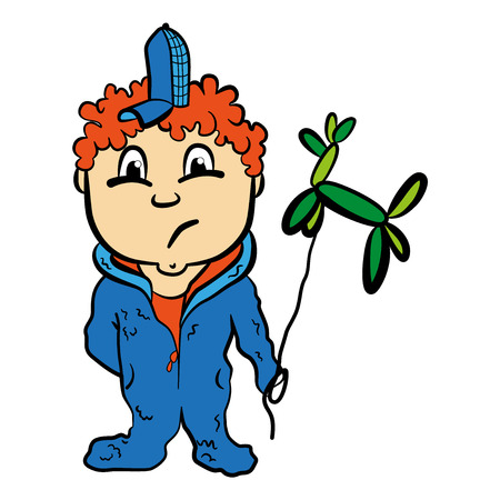 child boy: Red-haired cartoon child boy with balloon vector illustration Illustration