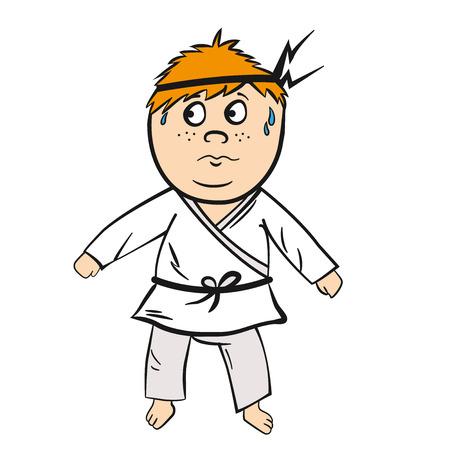 Karate kid cartoon rood hoofd met zwarte gordel vector illustratie