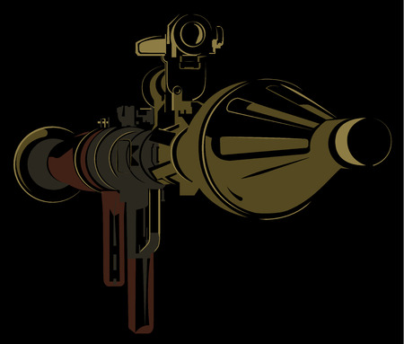 rpg: Anti-tank bazooka color rpg on black background vector illustration