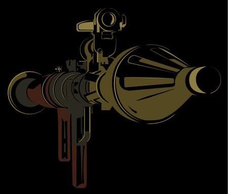 Anti-tank bazooka color rpg on black background vector illustration