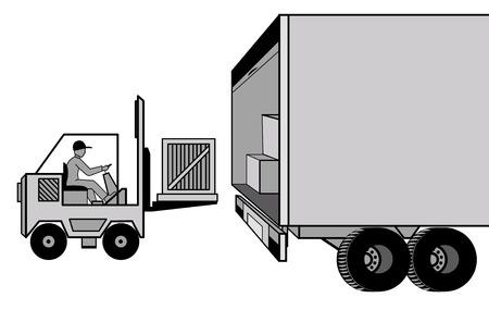 Levering en het laden van vracht met de auto en de lader in de opslagplaats vector illustraties Stock Illustratie