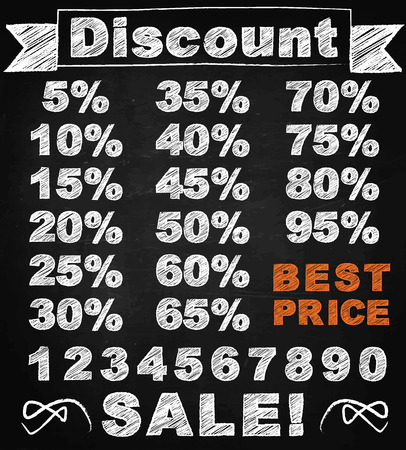 chalk board: Chalk font discount price tags board to sellout vector illustration