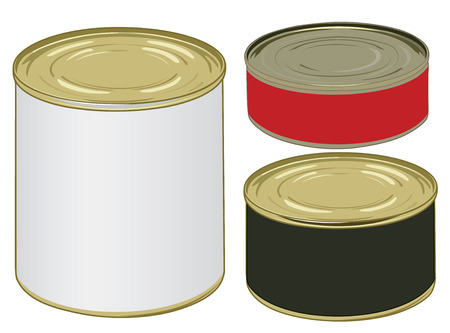 Set of aluminium colored label cans for signing your text vector illustration