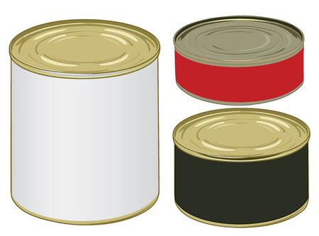 Set van aluminium gekleurd label blikjes voor het ondertekenen van uw tekst vector illustratie Stock Illustratie