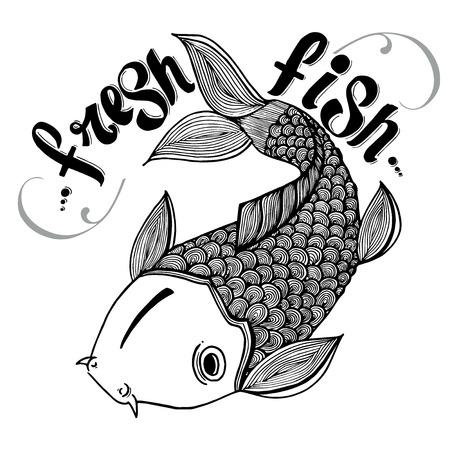 fresh salmon: Calligraphic signs engraved illustration tattoo fresh carp salmon japan fish vector