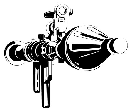 warhead: Anti-tank bazooka color rpg isolated on white vector illustration