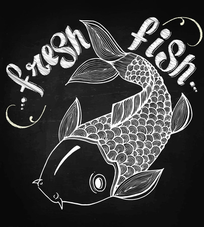 salmon: Calligraphic signs engraved illustration tattoo fresh carp salmon japan fish vector