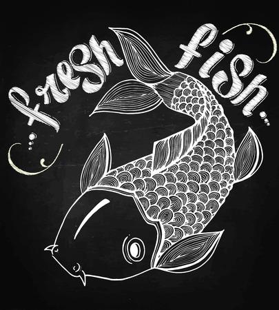 Kalligrafische tekens gegraveerde illustratie tattoo verse zalm japan karper vissen vector Stock Illustratie