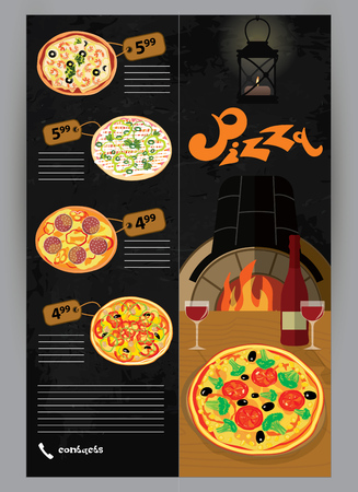 wine and cheese: Vector booklet, flyer, leaflet menu for pizza restaurants and pizzerias delivery illustrations