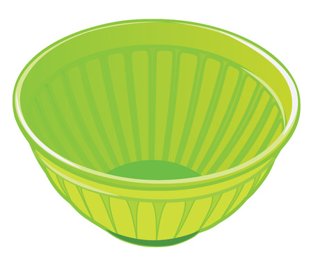 salad bowl: Green plastic salad bowl isolated on white background vector illustration Illustration