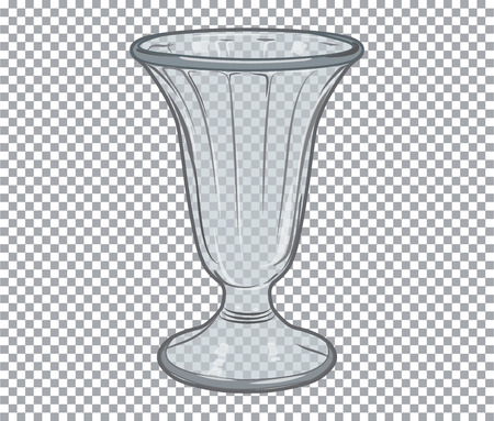 Vector empty glass flower vase isolated on transparent