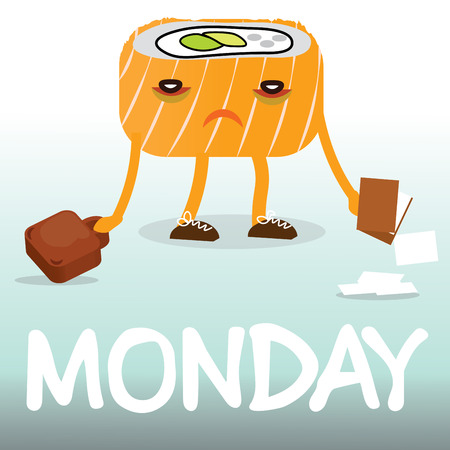 sushi: Frustrated comic cartoon sushi goes to work on Monday vector illustration