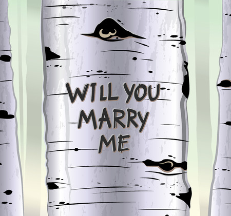 Birch tree card with carved text will you marry me vector illustration