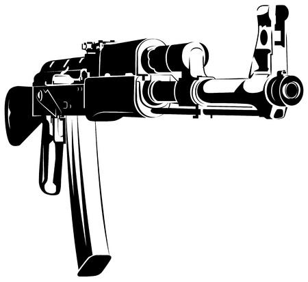 Ilustración vectorial ametralladora en blanco y negro ak 47 aislado sobre fondo blanco. Ilustración de vector