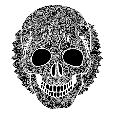 Vector skull tatoo day of the dead illustration isolated on the white background