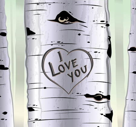 valentin day: Birch tree card with heart and carved text i love you vector illustration