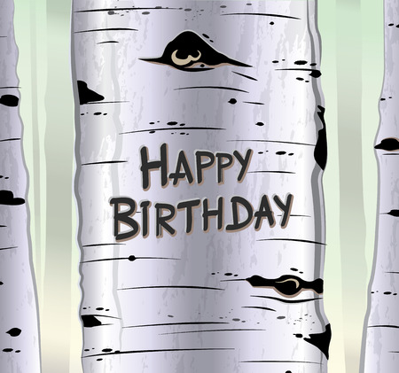 tree  forest: Birch tree card with carved text will you marry me vector illustration