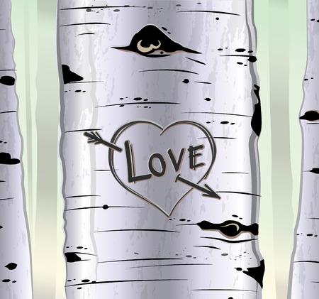 Berk kaart met hart en gesneden tekst liefde vector illustratie