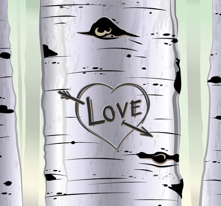 valentin day: Birch tree card with heart and carved text love vector illustration Illustration