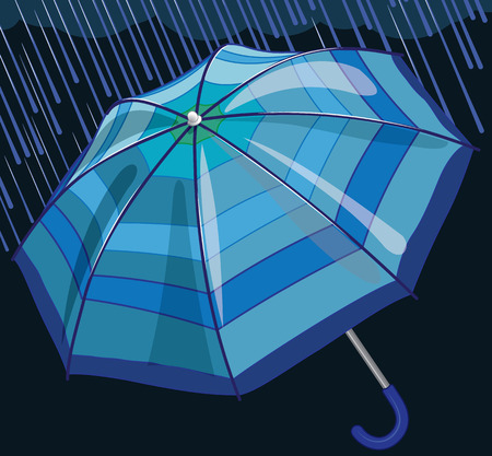 Blue umbrella protects from rain and storm vector illustration