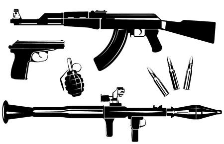 kalashnikov: Vector set of firearms isolated on white background Illustration