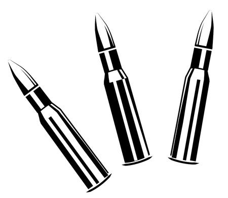 Vector ensemble de balles pour fusils isolé sur fond blanc