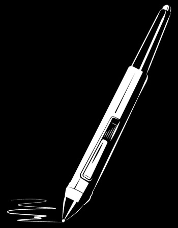 stylus: Vector white stylus draw on black background