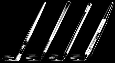 digitizer: Vector artistic brush set on black background