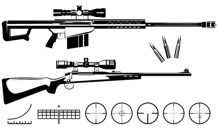 sharpshooter: Vector sniper rifles and target isolated on white background