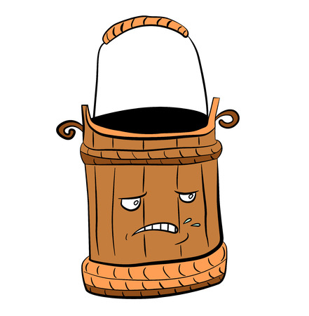 metal drawing: Wooden vector cartoon bucket for a bath and water