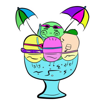 Ice cream to enjoy in the jacuzzi vector illustration Иллюстрация
