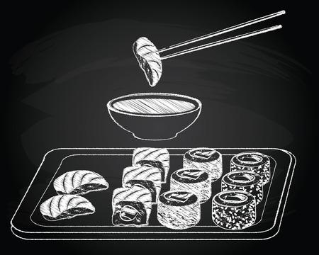 susi: Sushi vintage on the chalkboard background vector illustration