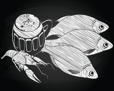 side menu: Stockfish, cancer and beer on the chalkboard background Illustration