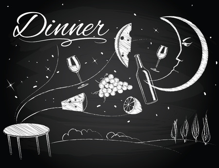 chalk drawing: foods are flying over the table under the light of the moon on the chalkboard background