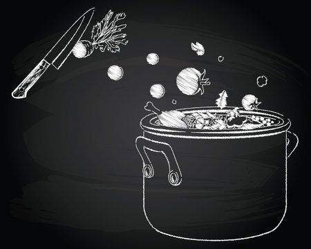 Cooking soup with vegetables on the chalkboard background