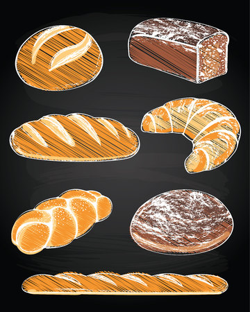 shopping malls: Collection of breads on the chalkboard background Illustration