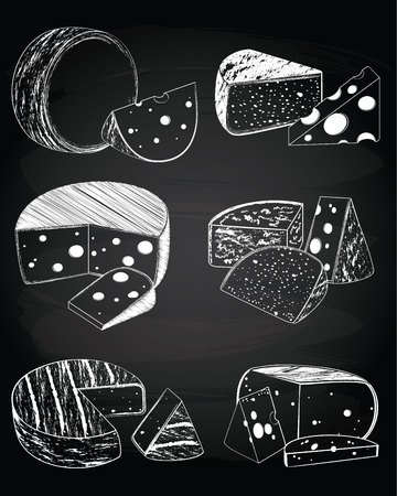 set of vintage cheese collection on the chalkboard background