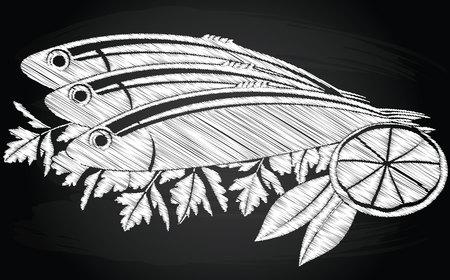 pesce salato e limone sullo sfondo lavagna