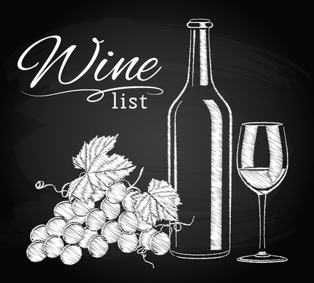 branded product: illustration of vintage still life with a glass, a bottle of wine and grapes on the chalkboard background