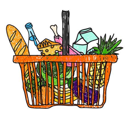 canastas con frutas: Garabatos dibujo boceto con una canasta de comestibles de la ilustración supermercado