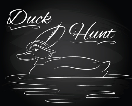dabbling duck: Illustration with duck in the hunter hat on the chalkboard background Illustration
