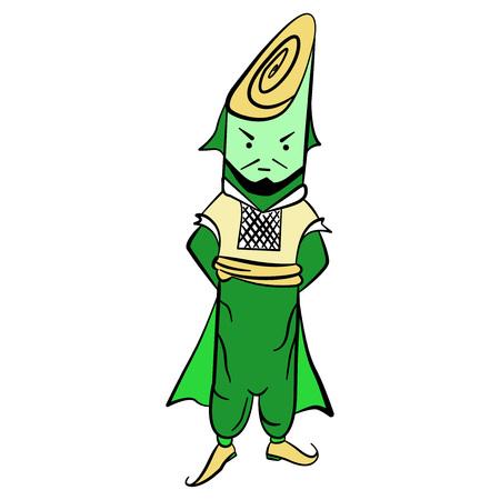 national costume: Drawing lettuce Mr. leek in national costume illustration