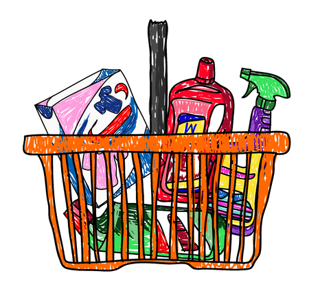Doodle sketch drawing with a basket of groceries from the supermarket vector illustration Illustration